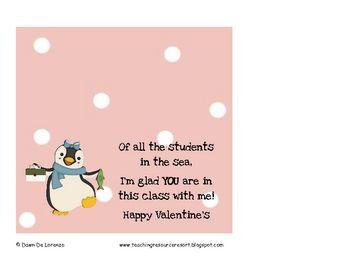 Female penguin for Valentine treat toppers from female teacher!: Cellophane Treats, Valentine Treats, Valentines Ideas, Treats Bags, Valentine'S S, Treats Toppers, Llps Valentines, Valentines Treats, Male Teacher