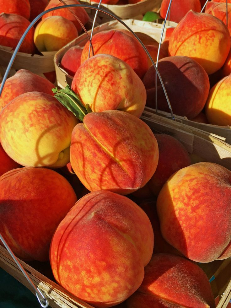 Baskets of gorgeous peaches make our mouths water!