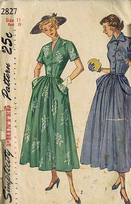 Simplicity Pattern  Pattern Number 2827  Copyright: 1949    Vintage 40's Misses One Piece Dress Pattern