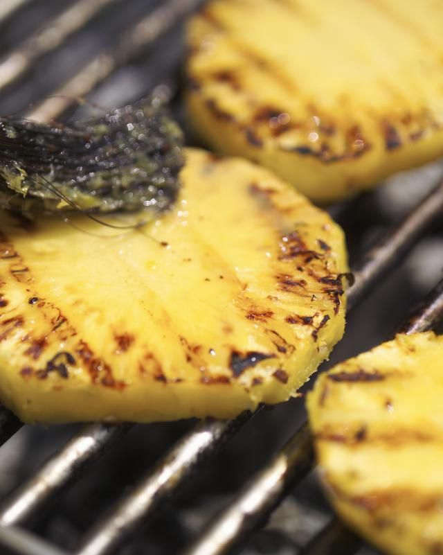 This is a fantastic grilled pineapple dessert recipe that is fast and delicious! The Tequila adds a tart flavor to balance the sugar.