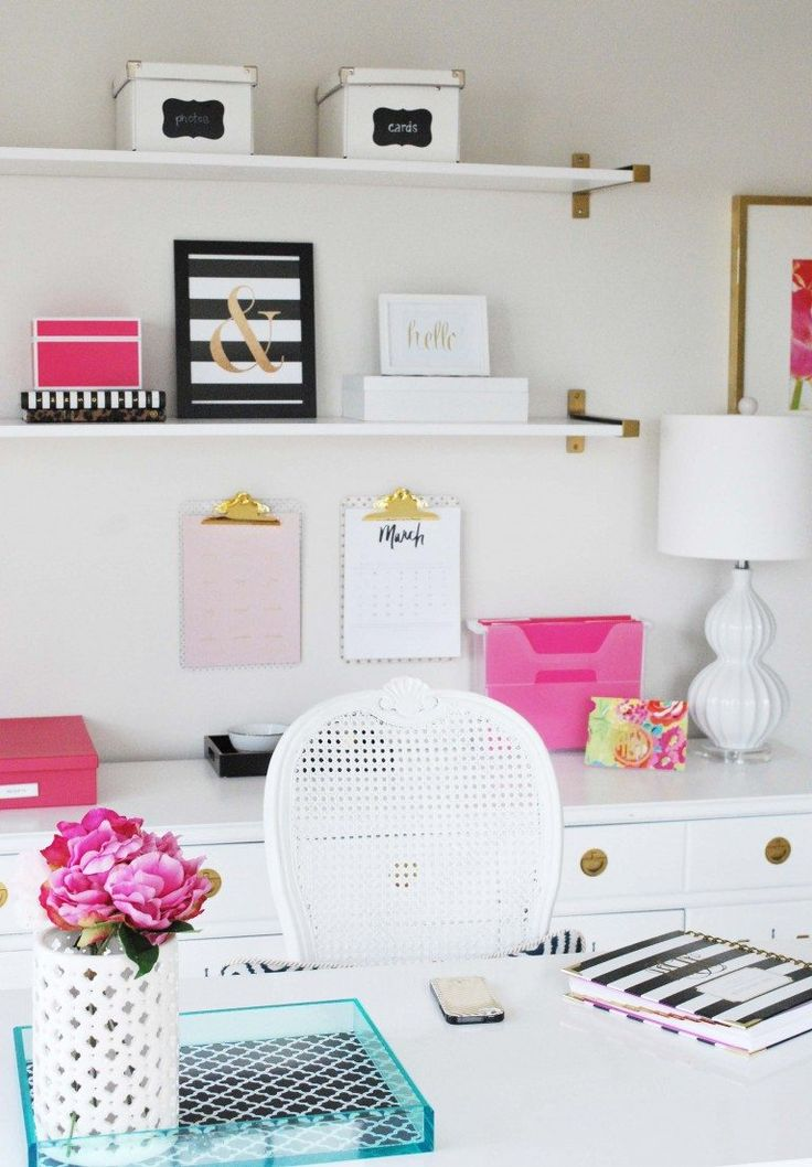 Organize desk space-shelves with boxes!