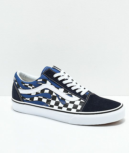 6a60c5708339e8 Vans Old Skool Checkerboard Flame Navy   White Skate Shoes in 2019 ...