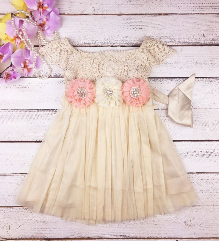 Peach flower girl cream dress - girl birthday dress - girl Easter dress - toddler birthday dress - photo outfit ideas - off white