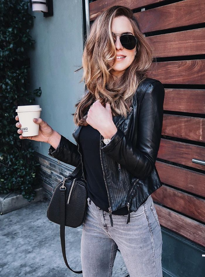 grey jeans + leather jacket