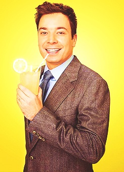 Jimmy Fallon drinking lemonade being cute