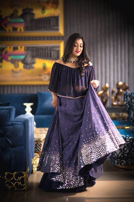 Cocktail Outfits - Navy Blue Cape with Blue Lehenga |Blue and Silver Embroidered Lehenga with a Sheer | indowestern |