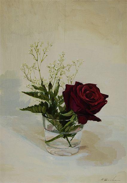 Rosa Roja | Óleo sobre Tabla | 28x40cm | http://robertobarba.com
