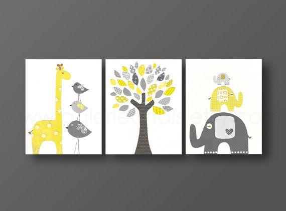 Art for children nursery art print baby nursery decor Kids art yellow gray giraffe elephant bird Tree Set of three prints