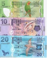 3 Note SET FIJI 5 - 20 Dollars $ Banknote World Money Currency Note BILL 2013
