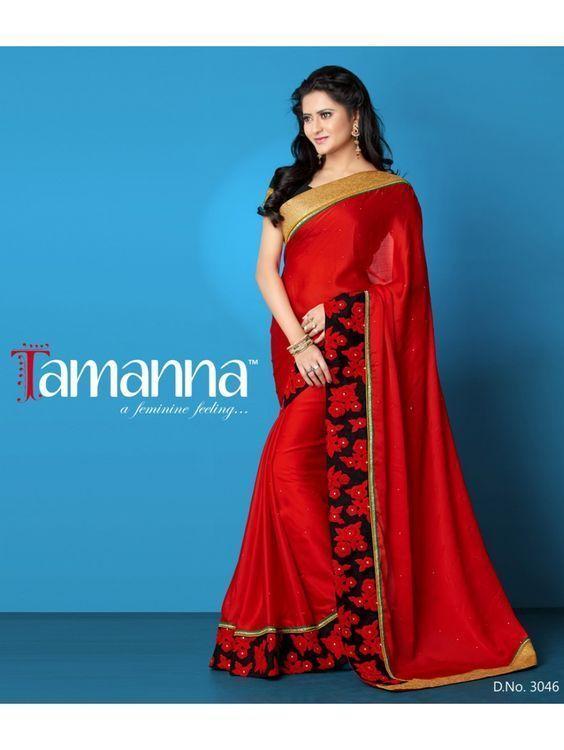 Red Chiffon/Satin Stylish Embroidery Saree/Partywear/Designerwear #TS3046