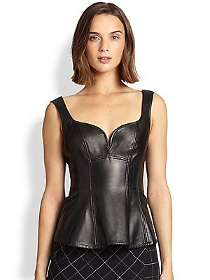 Nanette Lepore Leather/Ponte Campus Corset Top