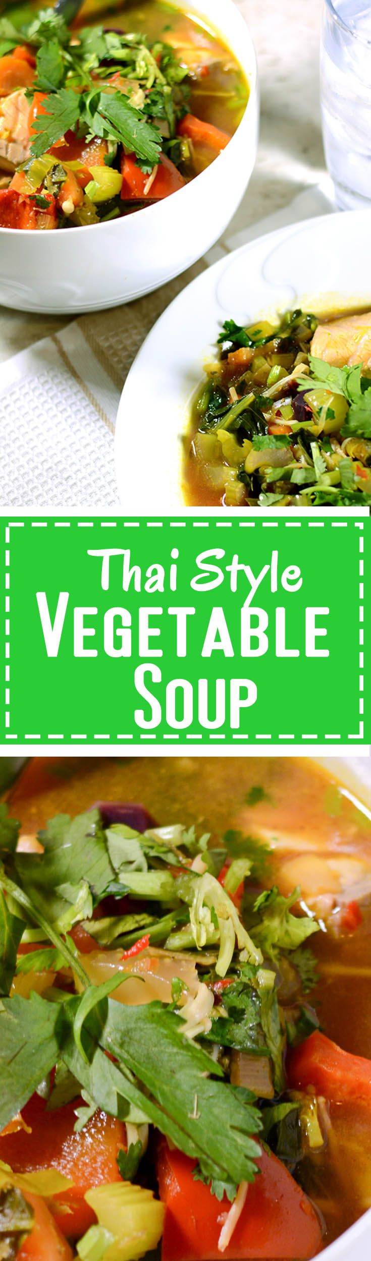 Thai Style Vegetable Soup - aromatic Asian flavours from the ginger, kaffir lime, lemongrass & garlic. Great with chicken, salmon or beans www.healthinsidesuccess.com