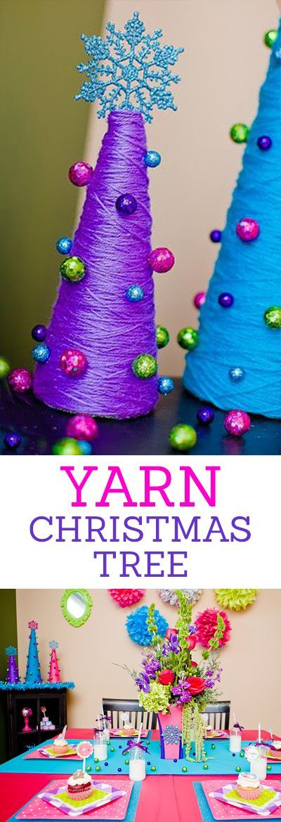 Yarn Christmas Trees - Cute Christmas Table Setting Decorations Craft