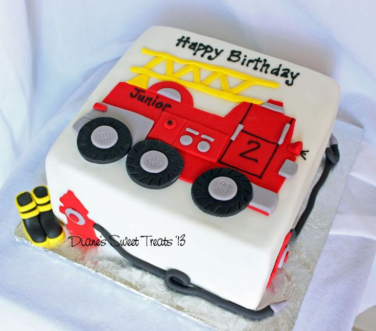 fire truck cake | Firefighter Themed 2nd Birthday Cake White Buttercream Iced 2 Tiers ...