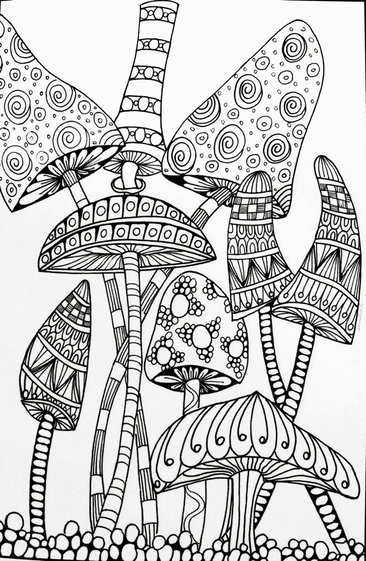 Trippy Mushroom Coloring Pages Free Mandala Coloring