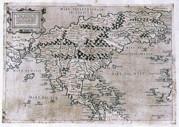 """Il designo del discoperto della Nova Franza by Paolo Forlani (1566). """"One of the first maps to show North America only and to include the name 'Canada.'"""""""