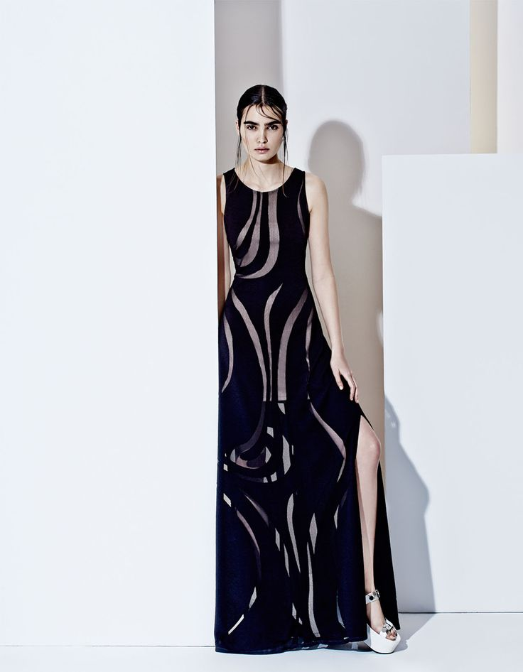 Elegant long semi trasparent dress, futuristic style