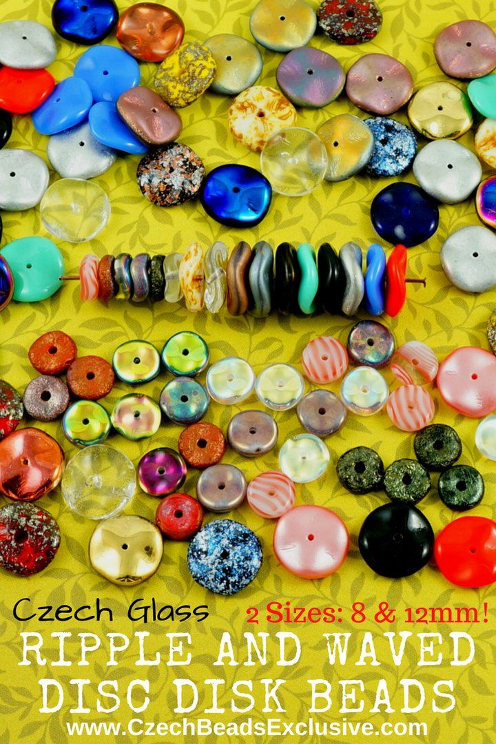 Czech Glass Ripple And Waved Disc Disk Beads  20 New Colors, 130 Designs in stock! - Buy now with discount!  Hurry up - sold out very fast! www.CzechBeadsExclusive.com/+waved+disc SAVE them! ??Lowest price from manufacturer! Get free gift! 1 shipping costs - unlimited order quantity!  Worldwide super fast ?? shipping with tracking number! Get high wholesale discounts! Sold with  at http://www.CzechBeadsExclusive.com + free Ripple and Waved Disc Disk Bead Patterns #CzechBeadsExclusive…