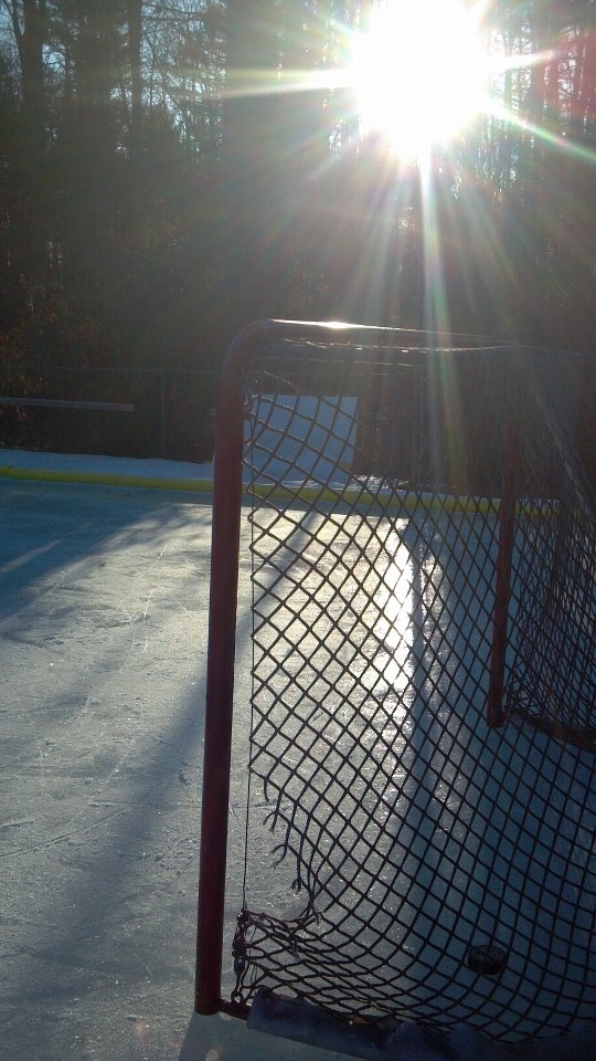 Early morning on the backyard rink.