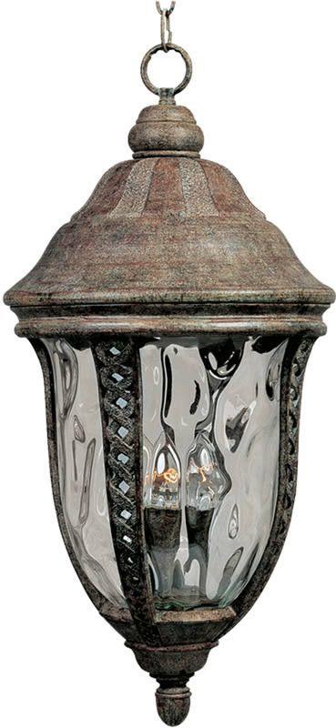 "0-018870>12""""w Whittier Die-Cast Aluminum 3-Light Outdoor Hanging Lantern Earth Tone"