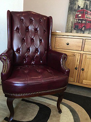 New Queen Anne Fireside High Back Wing Back Leather Chair Chesterfield Type  Armchair (Black. Living Room FurnitureRattan ... Part 88