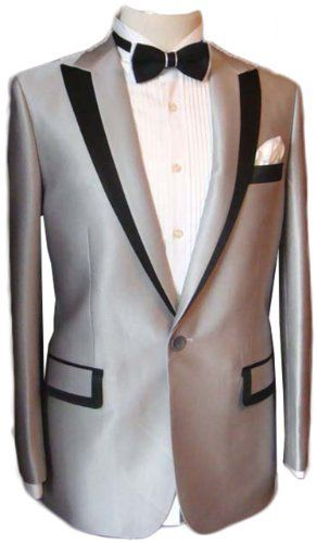 Silver Satin Mens Button Tuxedo Suit Jacket Shirt Necktie Noble