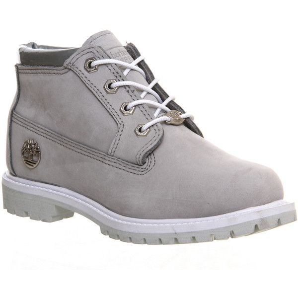 Timberland Nellie Chukka Double Waterproof Boots ($170) ❤ liked on Polyvore featuring shoes, boots, ankle booties, timberlands, ankle boots, grey iridescent cuff, women, short boots, grey ankle boots and grey bootie