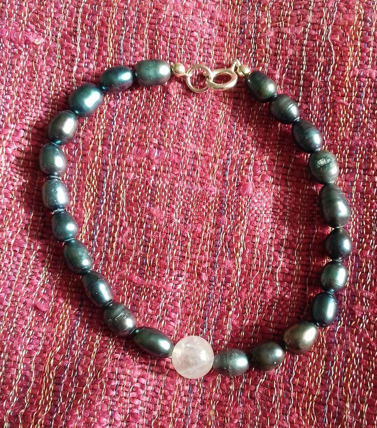 Rose Quartz and Peacock Cultured Freshwater Pearl Bracelet