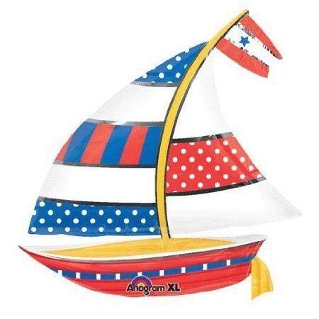 Nautical Sailboat Super Shape Anagram Balloons