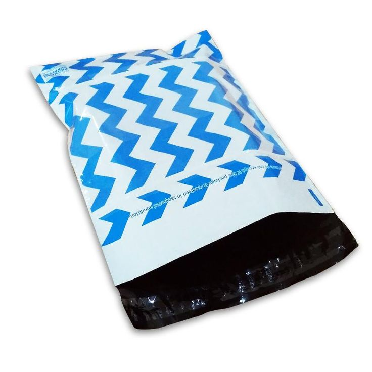 Get Blue Chevron Premium Printed Courier Bags Online From Packing Supply