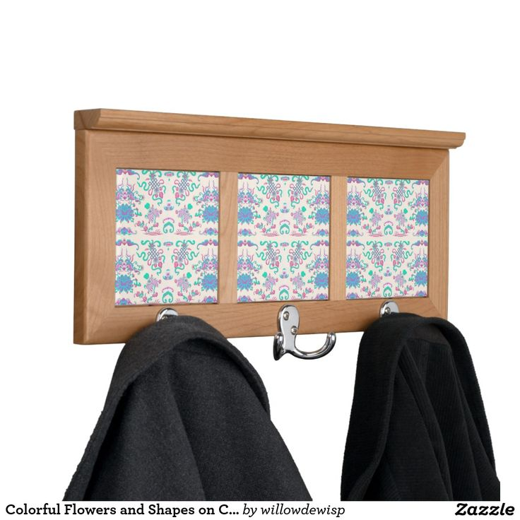 Colorful Flowers and Shapes on Cream Coat Rack