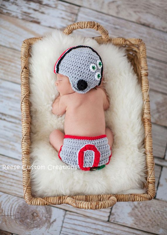 Crochet Ohio State Buckeyes Colors Newborn Baby Boy Photo Prop Outfit- Ohio State Hat and Ohio State Diaper Cover- 3 Week Lead Time