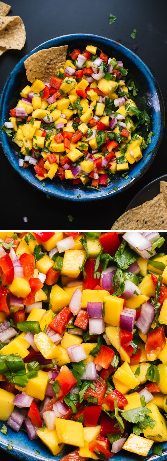 Fresh mango salsa recipe, perfect for tacos, potlucks and more!  #HealthyEating #CleanEating #ShermanFinancialGroup