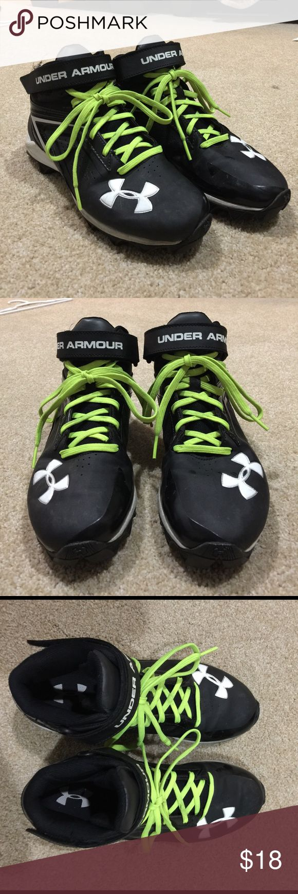 Boy's Under Armour Cleats Boy's Black & White Under Armour Cleats, size 5 Youth, sports shoes, football or soccer cleats. Good gently used condition. Only used for one season on sports turf (faux grass). No holes, rips, tears or stains.  20% off 3+ items in my closet. BUNDLE & SAVE!! Under Armour Shoes