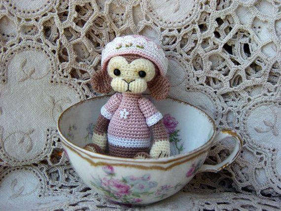 Artist Bear OOAK Crocheted Thread Teddy Monkey Miniature Doll Amigurumi OOAK Crochet