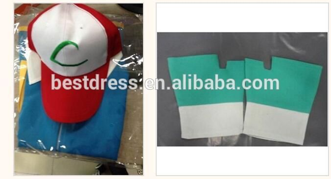 Wholesale HIGH QUALITY Ash Ketchum Pokemon Costume Cosplay
