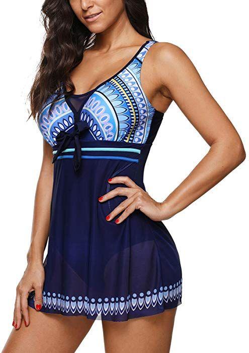 fc8075a4f983d Amazon.com: Zando One Piece Swimdresses Swim Dress Swimwear Skirted One Piece  Bathing Suit Swimming Swimsuits for Women Blue XL (US 12-14): Clothing