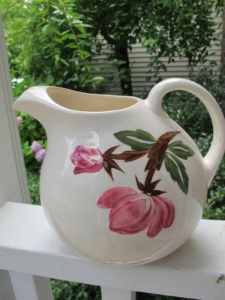 Vintage Tilt Pitcher 1940 Pink Roses Mid Century Ice Lip Design Mint Cottage #ContinentalKilns