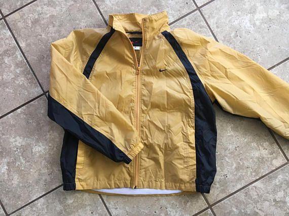 Nike gelbe und schwarze Windjacke mittlere Herren 90er