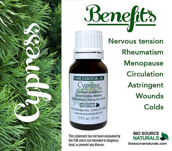 Cypress Pure Essential Oil helps soothe symptoms of colds.  It is also helpful rheumatism, nervous tension and menopause.  #aromatherapy