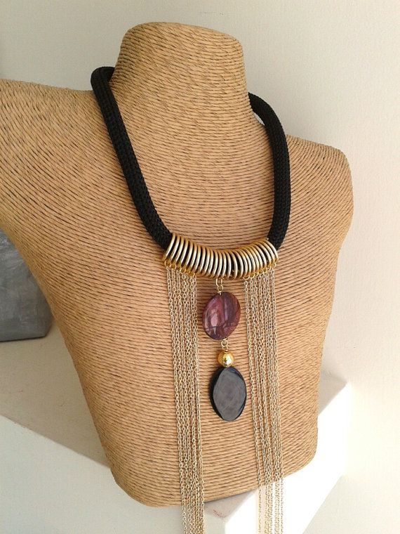 Multi chain gold necklace  Rhodonite and Black onyx by betsyarts, €30.00