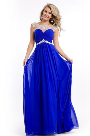 Style Number:6555 - In Stock  Party Time Prom  Sleeveless chiffon gown with ruched bodice. Jeweled neckline and waist. The fabric in this style is Chiffon   Our Price: $338.00