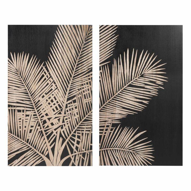 Tableau diptyque palmier noir 75x90