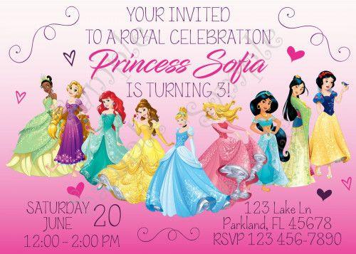 53 best disney princess birthday party ideas images on pinterest princess invitation disney princess birthday invitation stopboris Images