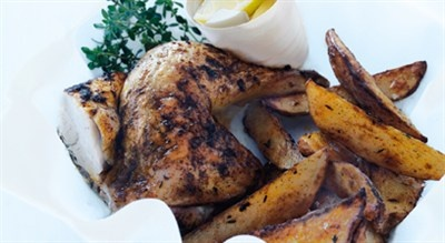 Speedy roasted chicken and chips, Donna Hay