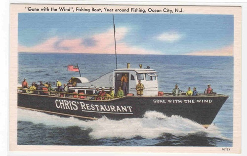 Fishing Boat Gone with The Wind Ocean City New Jersey Linen Postcard  Memories of summers long ago!
