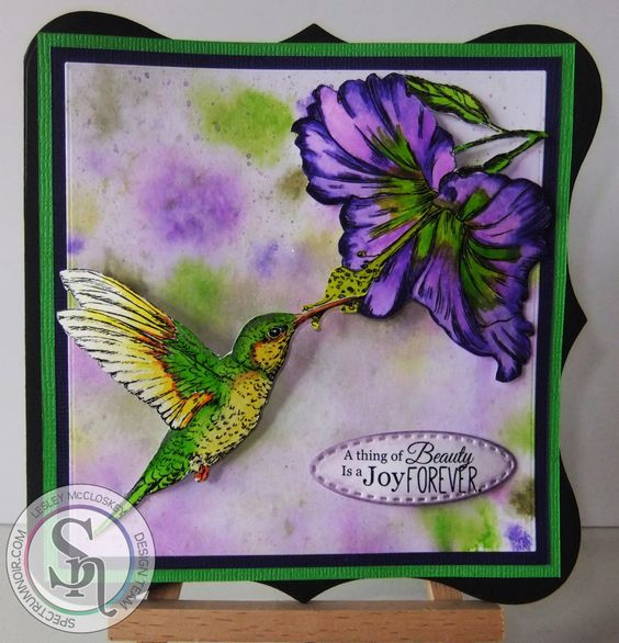 6x6 shaped card made using  Sheena's A Little Bit Sketchy Tropical Nectar coloured with  Spectrum Aqua pens Floral set. Designed by Lesley McCloskey. #crafterscompanion #spectrumaqua