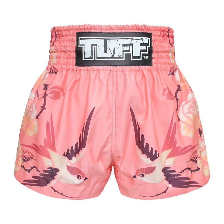 TUFF Muay Thai Boxing Shorts Birds And Roses Inspired by Ancient Drawing