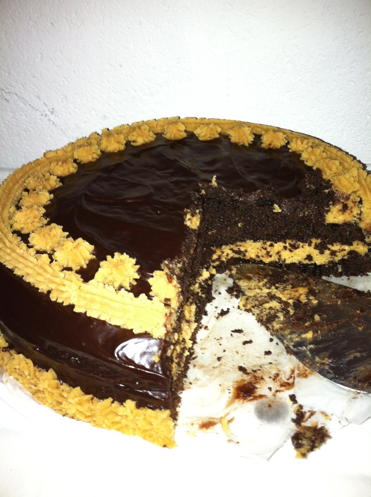 OMG, this is one of the best cakes I ever made! KAF recipe, of course. I used a peanut butter piped frosting instead of the crushed peanuts on top. You MUST have either coffee or milk to go with this - trust me. http://www.kingarthurflour.com/recipes/fudge-glazed-creamy-peanut-butter-cake-recipe
