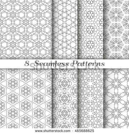 Set of 8 Seamless islamic pattern in arabian style. Stylish graphic monochrome geometric seamless backgrounds collections, line art. Tribal ethnic ornament. Black and white vector illustration